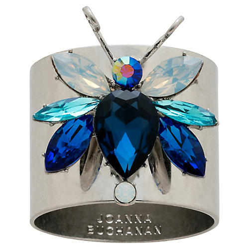 S/2 Rainbow Bug Napkin Rings, Silver/Blue