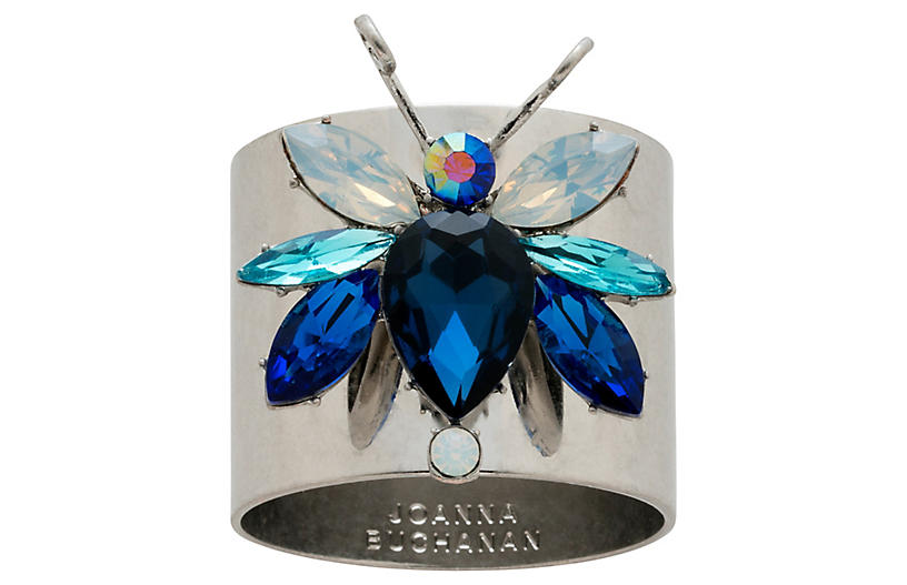 S/2 Rainbow Bug Napkin Rings, Silver/Blue
