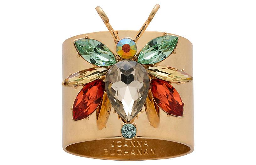 S/2 Rainbow Bug Napkin Rings, Gold/Multi