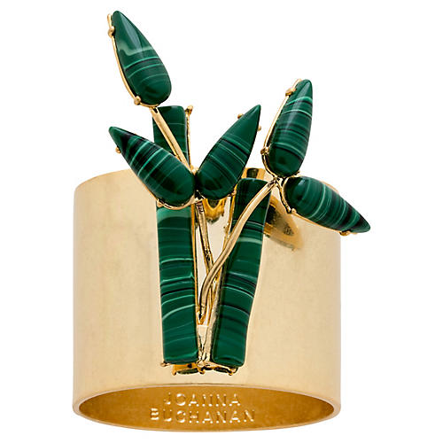 S/2 Bamboo Napkin Rings, Gold/Green