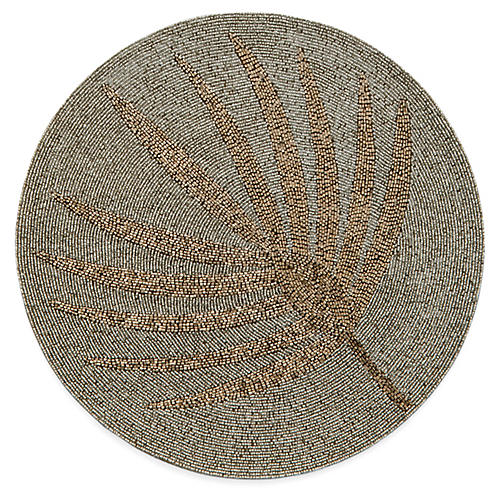 Palm Frond Place Mat, Gold/Gray