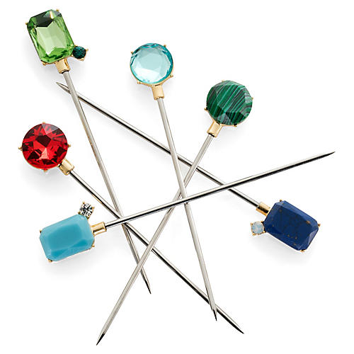 S/6 Bright Faux-Gem Cocktail Picks, Silver/Multi