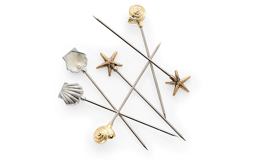 S/6 Shell Cocktail Picks, Silver/Gold