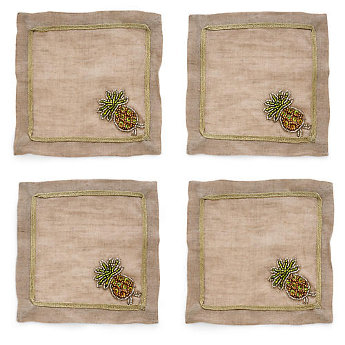 S/4 Pineapple Cocktail Napkins, Flax/Multi