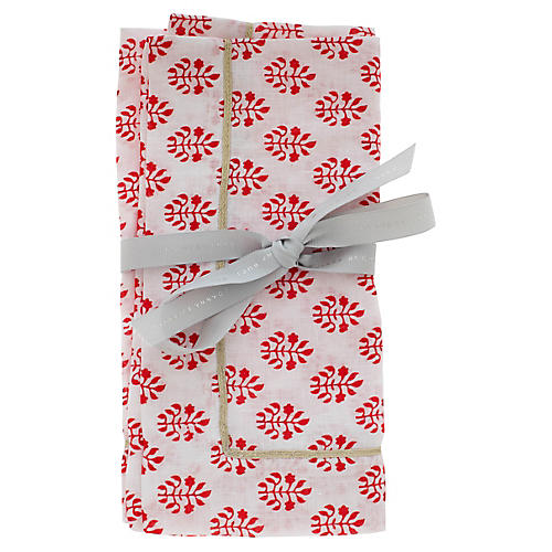 S/2 Leaf Dinner Napkins, Red