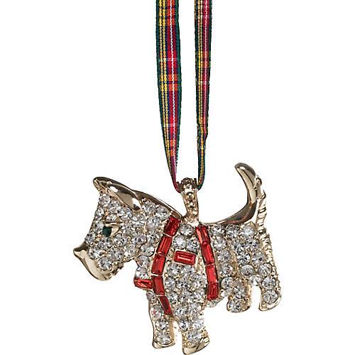Scottie Dog Ornament, Silver/Ruby