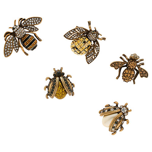 S/5 Mini Bug Clip Wreath Clips, Gold