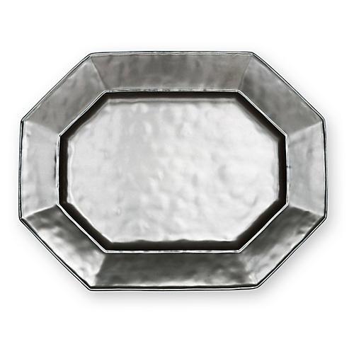 Stoneware Octagonal Serving Platter, Pewter