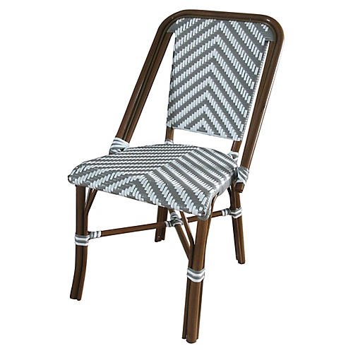 Modern Outdoor Bistro Side Chair, Gray/White