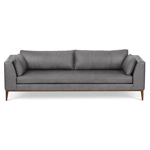 Largo Sofa, Silver Leather