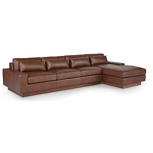 Dunn Right-Facing Sectional, Cocoa Leather
