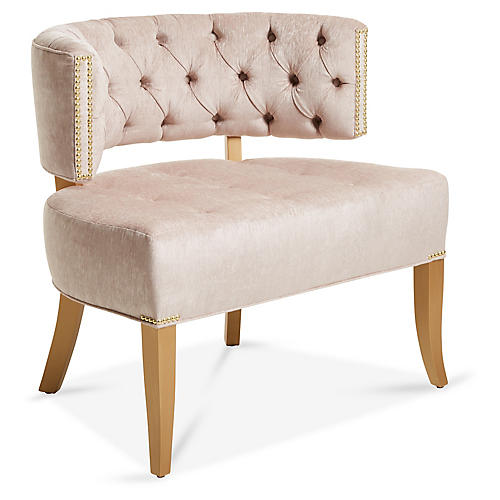 Babette Accent Chair, Dusty Rose Chenille