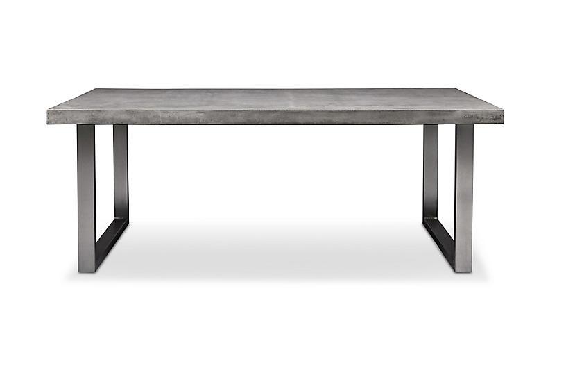 Viktorie Dining Table, Brushed Stainless Steel