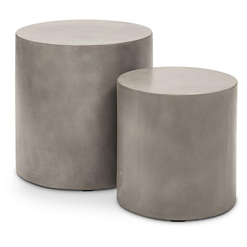Exeter Concrete Stools, Pair