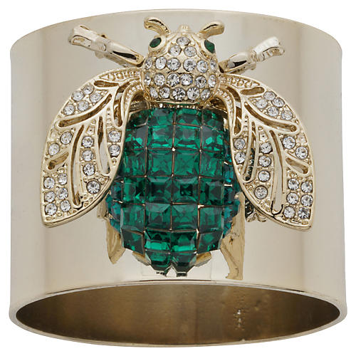 S/2 Sparkle Bee Napkin Rings, Gold/Green