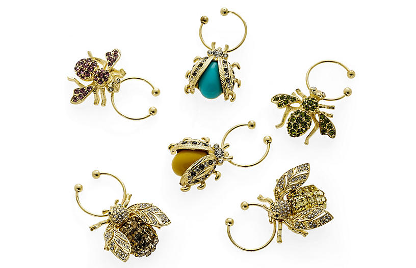 S/6 Sparkling Critters Wine Charms, Gold/Multi