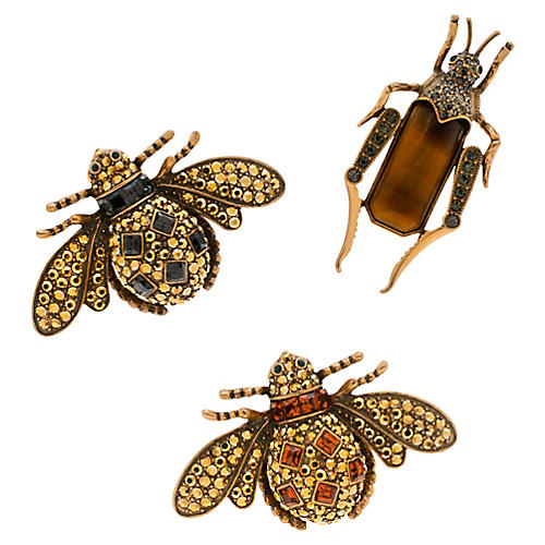 Jeweled Insect Clip Ornaments, Silver/Multi