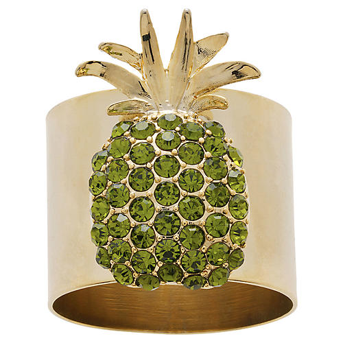 S/2 Pineapple Napkin Rings, Gold/Green