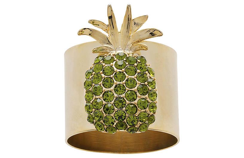 S/2 Pineapple Napkin Rings, Gold/Green