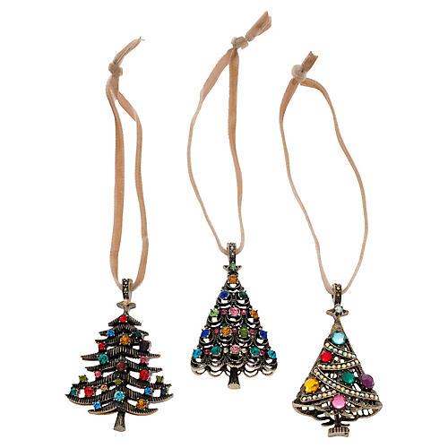 S/3 Christmas Tree Ornaments, Pink/Multi
