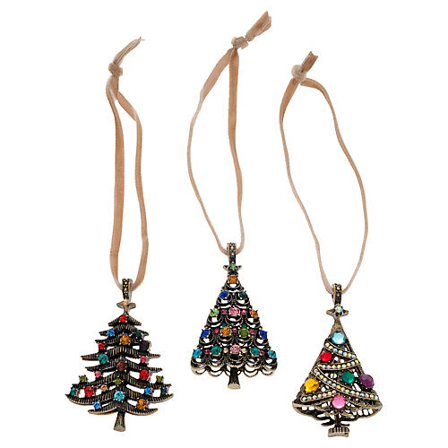 S/3 Christmas Tree Ornaments, Pink/Multi