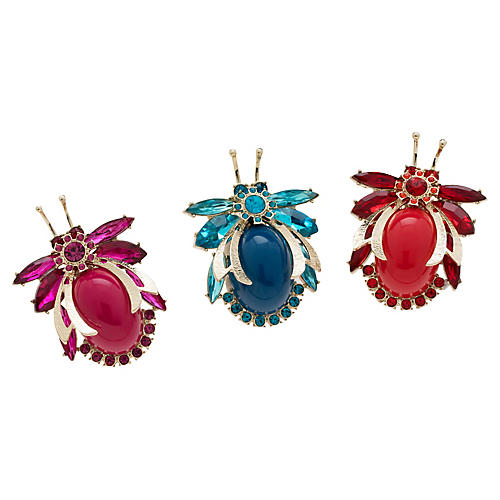 S/3 Vintage Cabochon Bug Wreath Clips Ornaments, Red/Blue