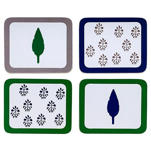 S/4 Leaf & Tree Coasters, Blue/Green