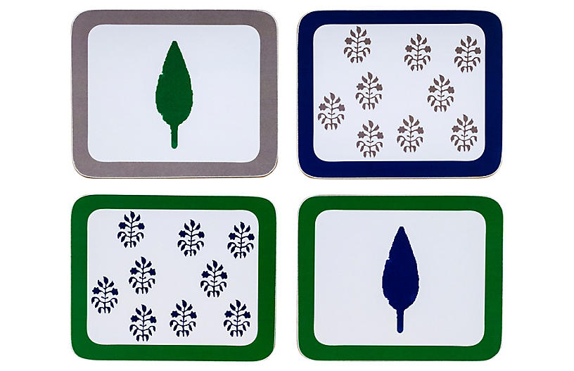 S/4 Leaf & Tree Coasters, Blue/Green