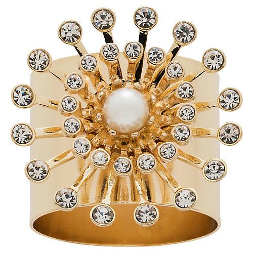 S/2 Pearl Star Napkin Rings, Gold
