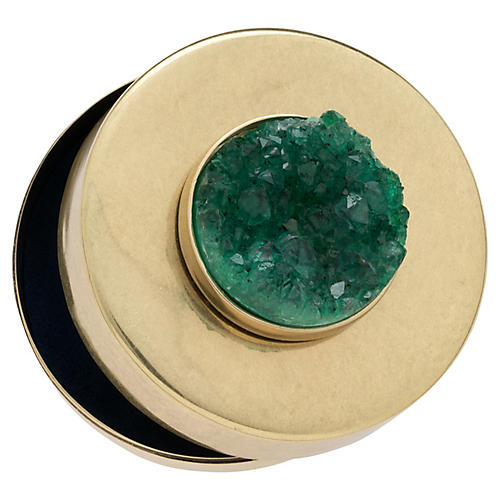 Drusy Jewelry Box, Antiqued Brass/Emerald