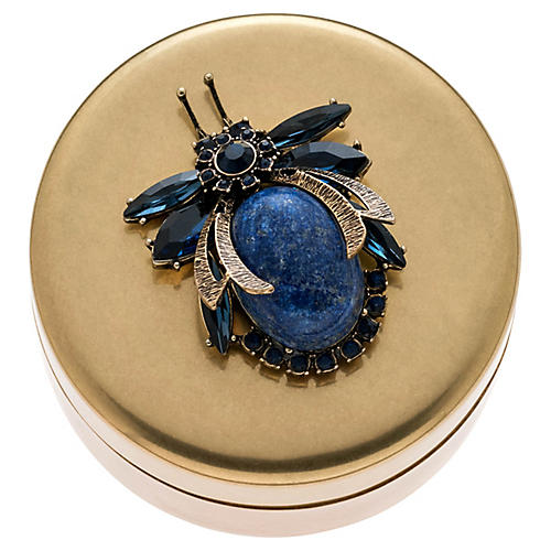Beetle Jewelry Box, Antiqued Brass/Lapis