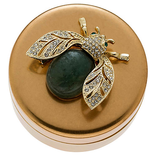 Winged Beetle Jewelry Box, Brass/Labradorite