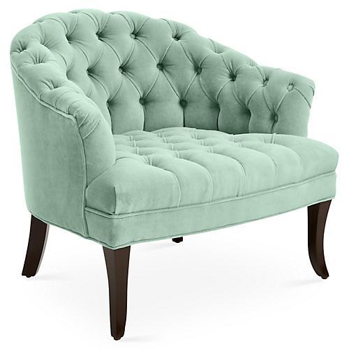 Swoon Accent Chair, Pistachio Velvet