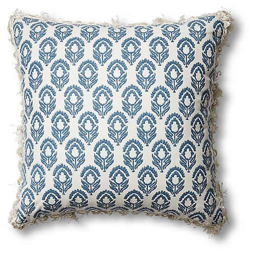 Jasmine 20x20 Pillow, Blue-Gray/Ivory