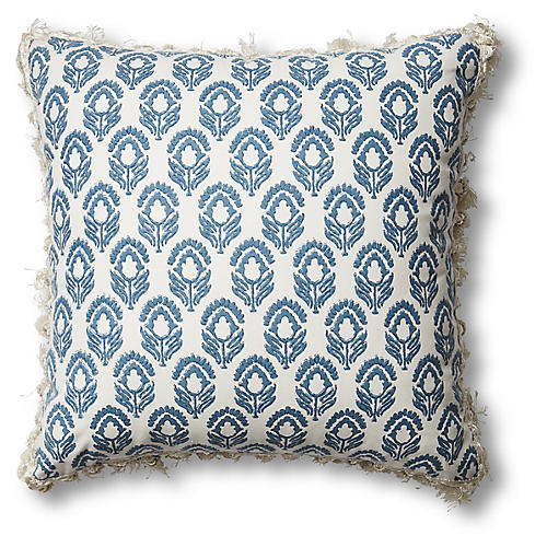 Jasmine 20x20 Pillow, Blue-Gray/Ivory