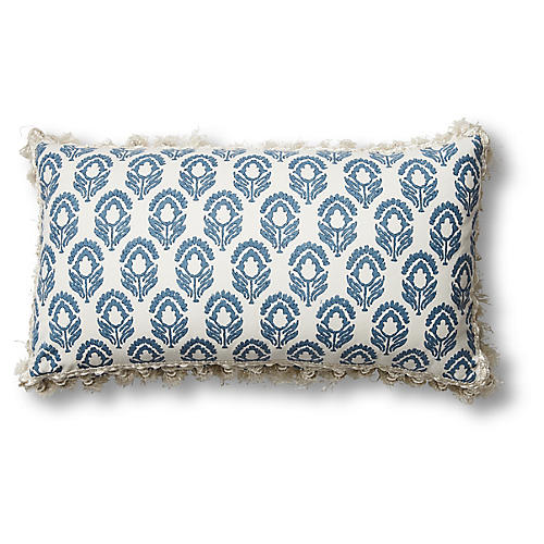 Jasmine 12x20 Lumbar Pillow, Blue/Ivory