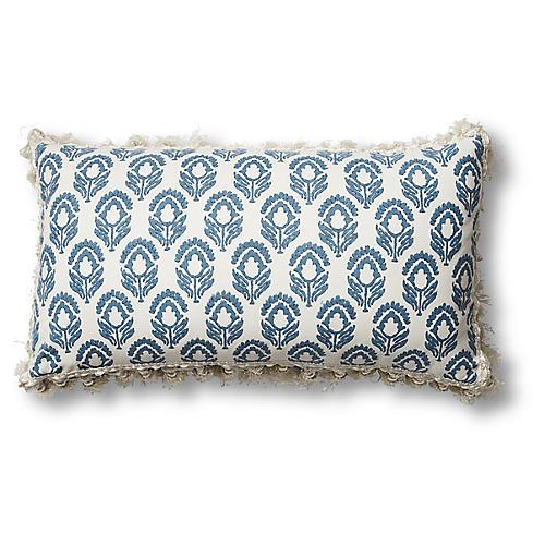 Jasmine 12x20 Lumbar Pillow, Blue/Ivory