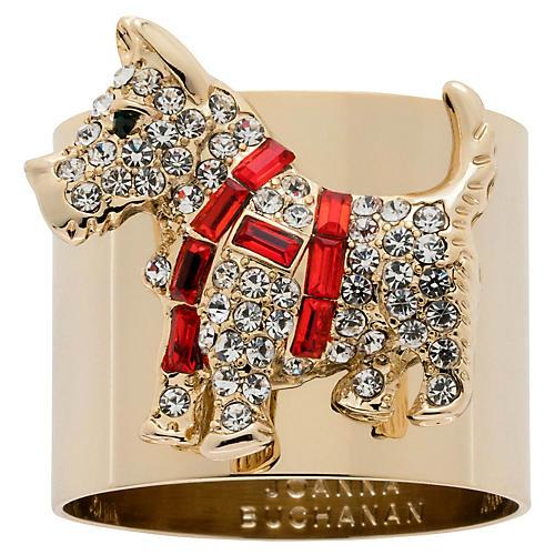 S/2 Scottie Dog Napkin Rings, Gold