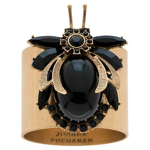 S/2 Bug Napkin Rings, Gold/Black