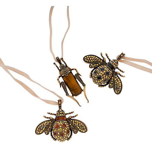 Asst. of 3 Jeweled Insect Clip Ornaments, Gold