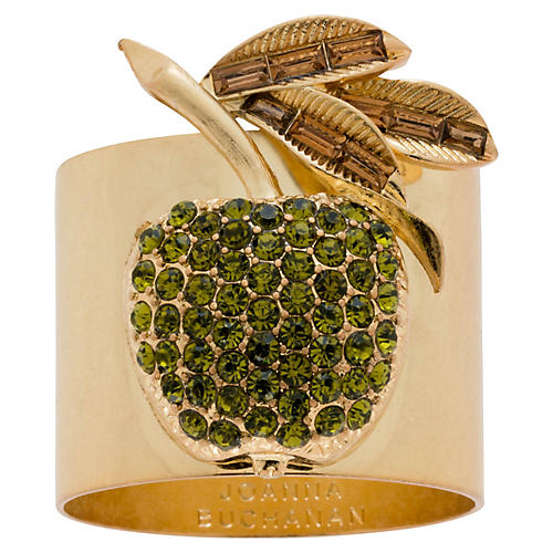 S/2 Apple Napkin Rings, Gold/Olive