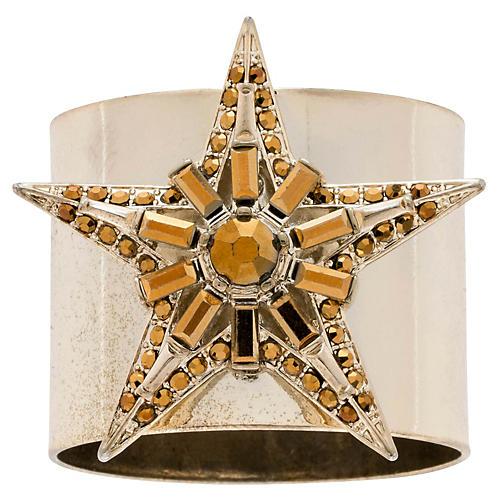S/2 Baguette Star Napkin Rings, Gold