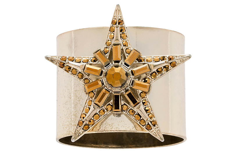 S/2 Baguette Star Napkin Rings, Gold