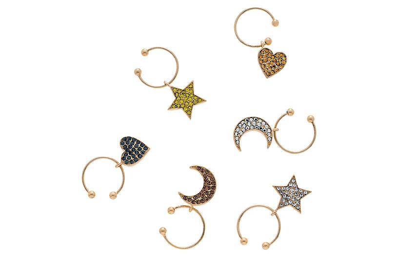 S/6 Celestial Wine Charms, Gold/Multi