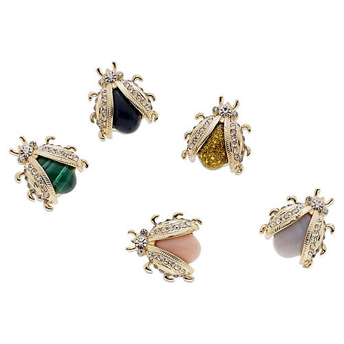 Asst. of 5 Mini Bug Magnets, Gold/Multi