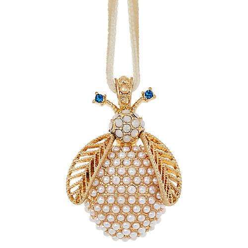 Pearl Bug Ornament, Gold/Cream
