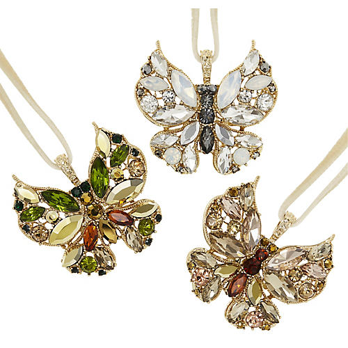 Asst. of 3 Butterfly Ornaments, Gold/Multi