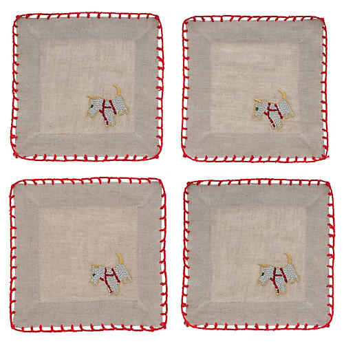 S/4 Scottie Dog Cocktail Napkins, Flax/Red