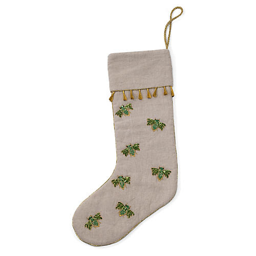 Bee Stocking, Tan/Green
