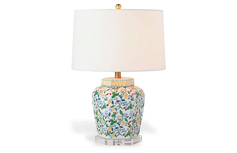Crewel Summer Table Lamp, White/Multi